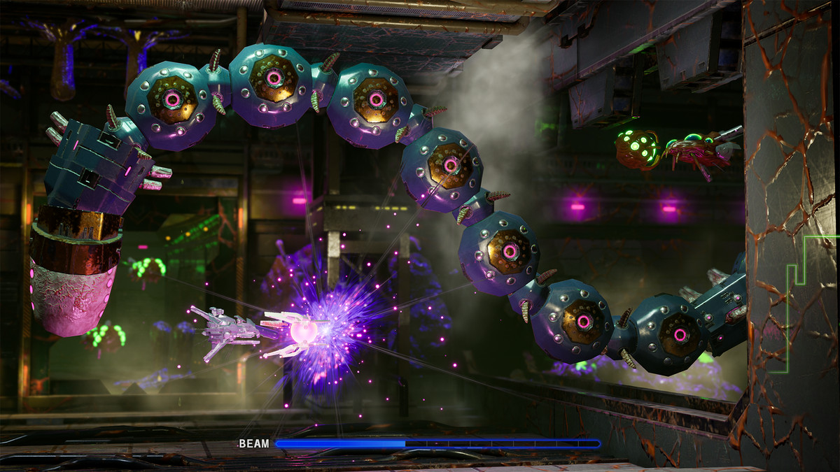 a spaceship fighting a snakelike enemy in R-Type Final 2
