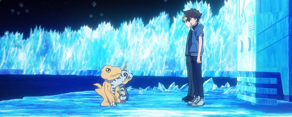 Two characters face their Digimon in a blue field in Digimon Adventure: Last Evolution Kizuna