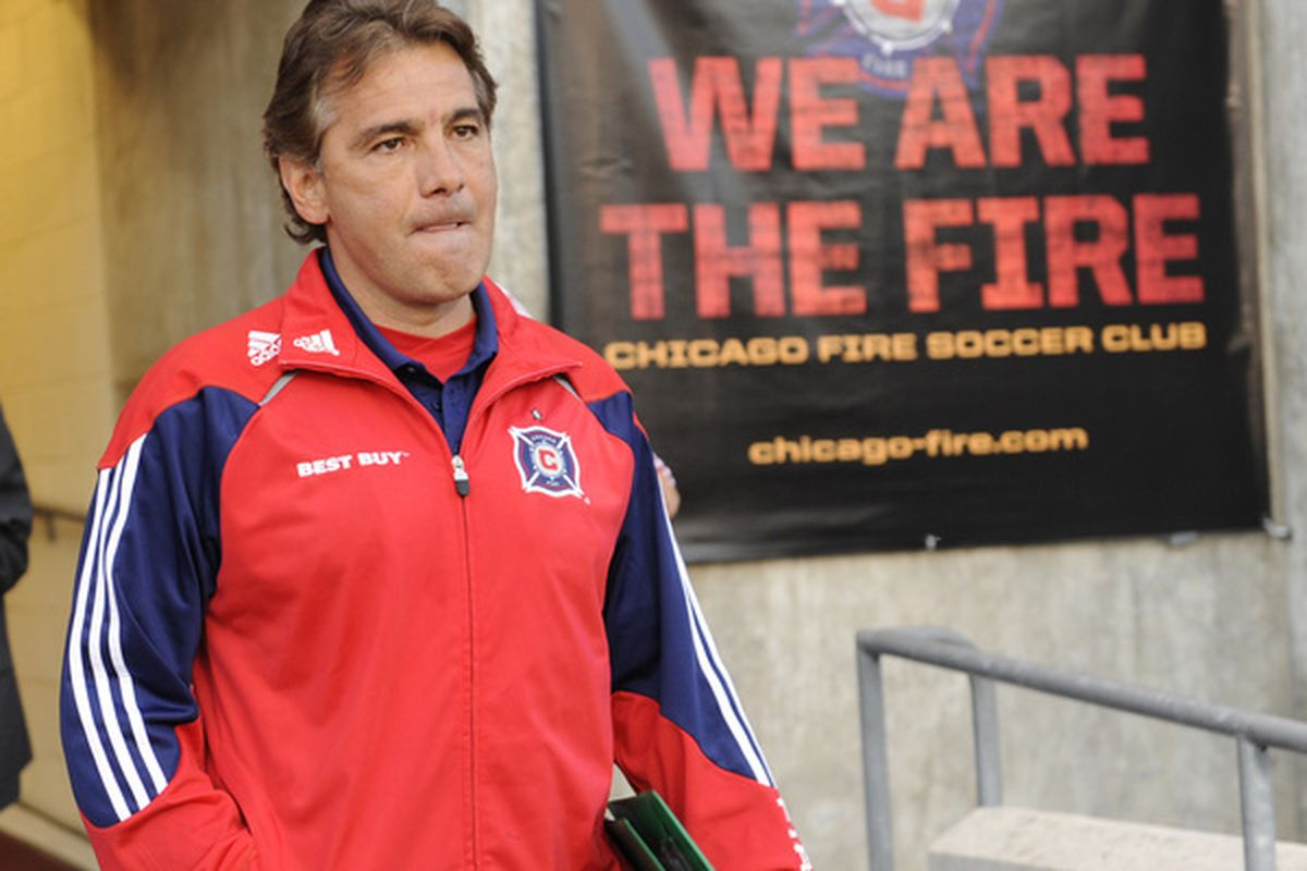 BRIDEVIEW, IL - MAY 01:  Chicago Fire coach Carlos de los Cobos before the game against Chivas USA in an MLS match on May 1, 2010 at Toyota Park in Brideview, Illinois. (Photo by David Banks/Getty Images)