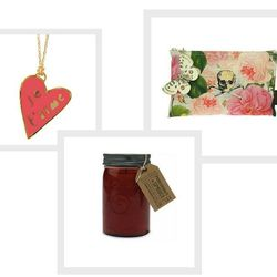 """From Manayunk's The Little Apple, the <a href=""""http://www.thelittleapplestore.com/product/modern-cloisonne-pendant-necklaces"""">Je T'aime Heart Necklace</a>, $48; <a href=""""http://www.thelittleapplestore.com/product/dead-sexy-skull-cosmetic-bag"""">Dead Sexy Co"""