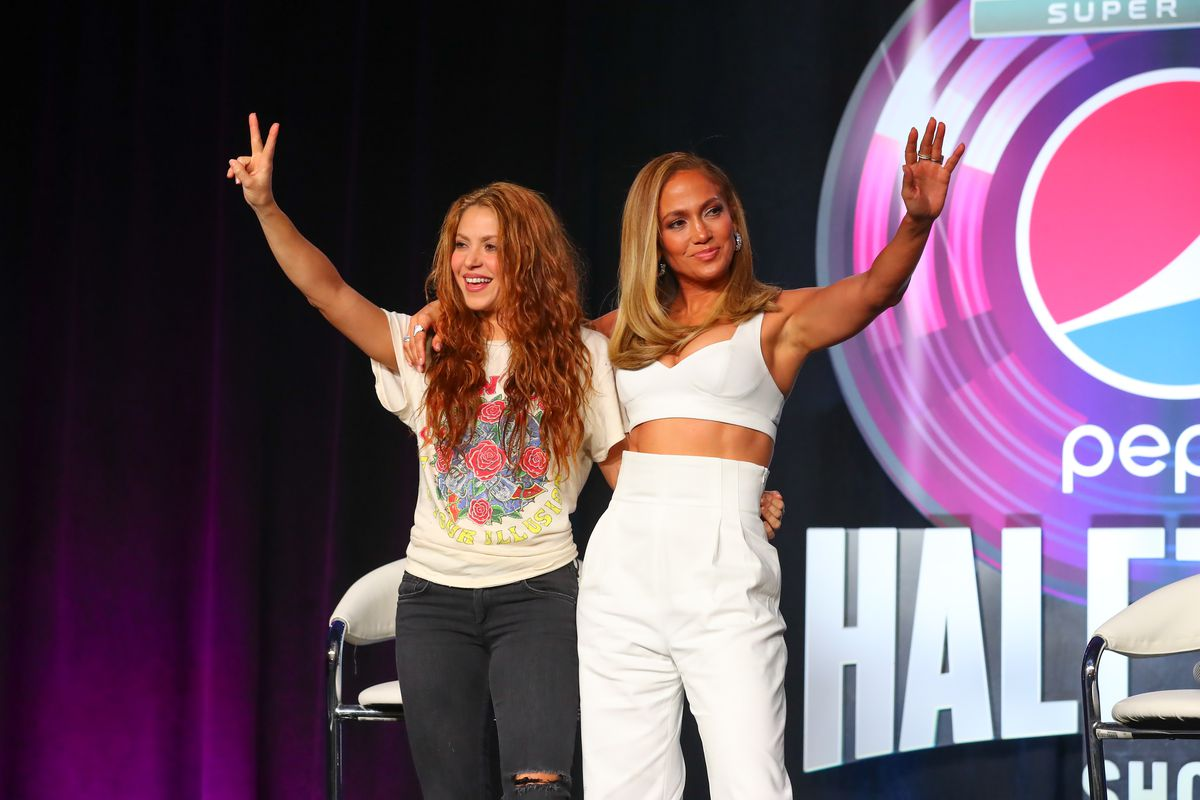 Shakira and Jennifer Lopez during the Pepsi Super Bowl LIV Halftime show press conference on January 30, 2020 at the Hilton Downtown Miami in Miami, FL.