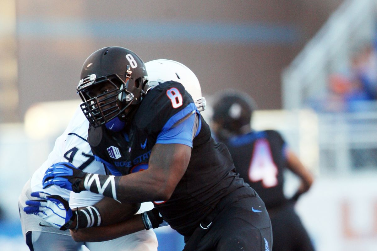 Boise State DE Demarcus Lawrence (8) was 2nd round draft pick by the Dallas Cowboys.
