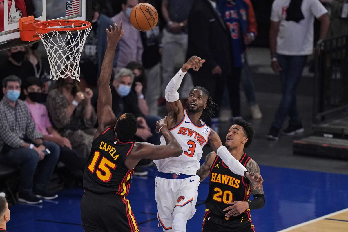 New York Knicks' Nerlens Noel (3) blocks a shot during the second half of Game 1 of an NBA basketball first-round playoff series against the Atlanta Hawks on May 23, 2021 in New York City.