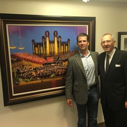 Donald Trump Jr. poses with Mac Christensen, former president of the Mormon Tabernacle Choir, during a visit to Temple Square in Salt Lake City in September 2017. Trump Jr. said the hourlong tour of Temple Square led directly to an invitation from his father, president-elect Donald Trump, for the Mormon Tabernacle Choir to perform at Trump's presidential inauguration on Jan. 20, 2017. Trump's Presidential Inaugural Committee announced Thursday, Dec. 22, 2016, that the choir had accepted the offer.