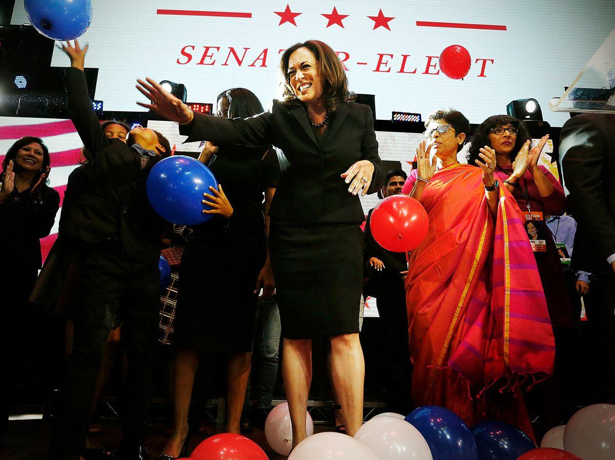 Kamala Harris celebrates winning her Senate race at her rally in downtown on November 8, 2016, in Los Angeles, California.