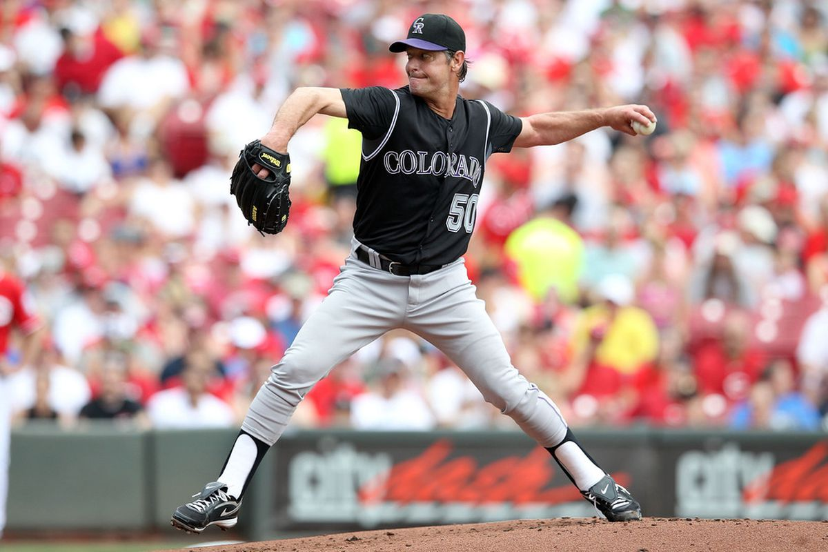CINCINNATI, OH - MAY 27:  Jamie Moyer #50 of the Colorado Rockies throws a pitch during the game against the Cincinnati Reds at Great American Ball Park on May 27, 2012 in Cincinnati, Ohio.  (Photo by Andy Lyons/Getty Images)