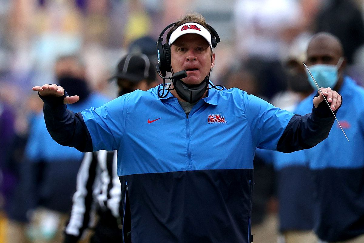 Head coach Lane Kiffin of the Mississippi Rebels reacts to a call during a game against the LSU Tigers at Tiger Stadium on December 19, 2020 in Baton Rouge, Louisiana.