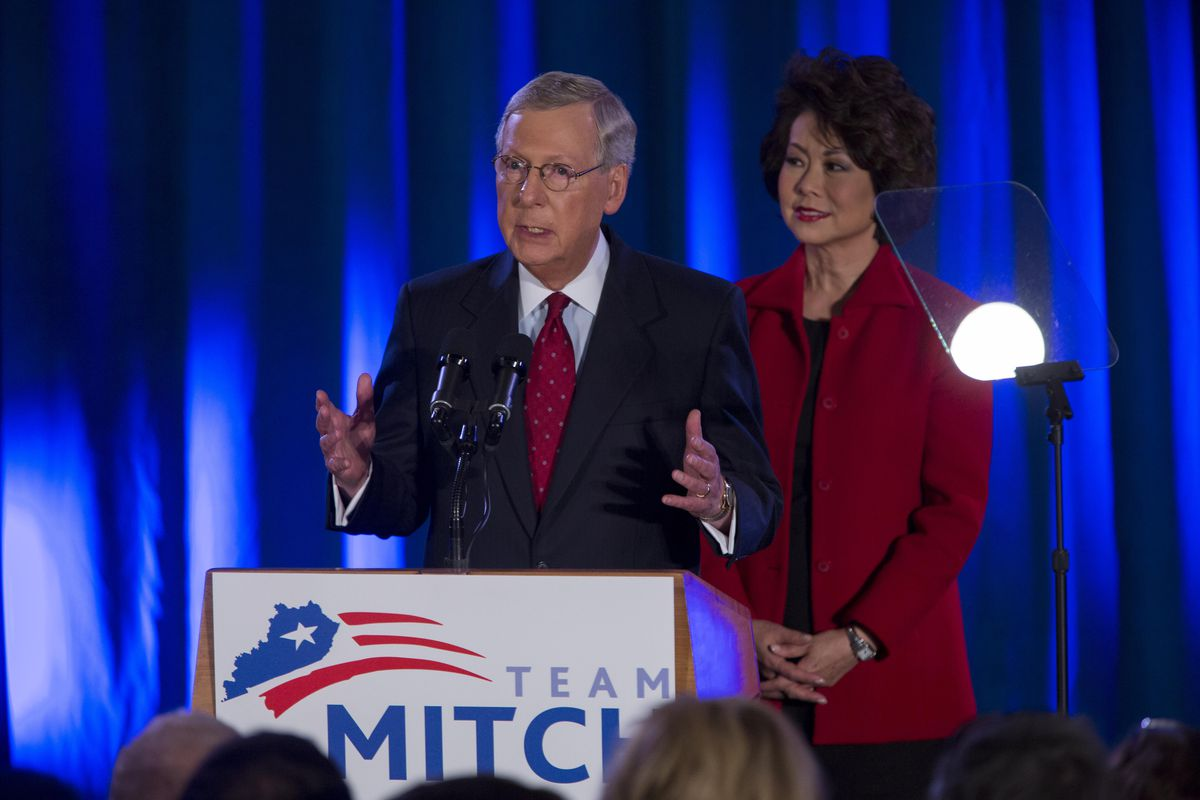 Mitch McConnell celebrates his 2014 victory.