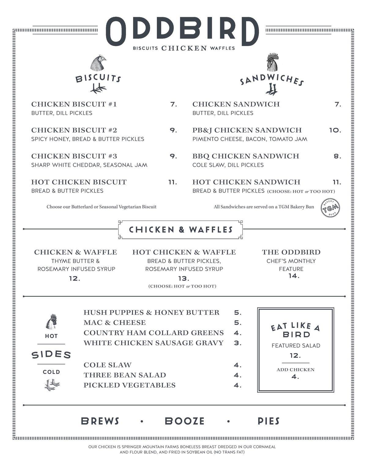 Oddbird menu