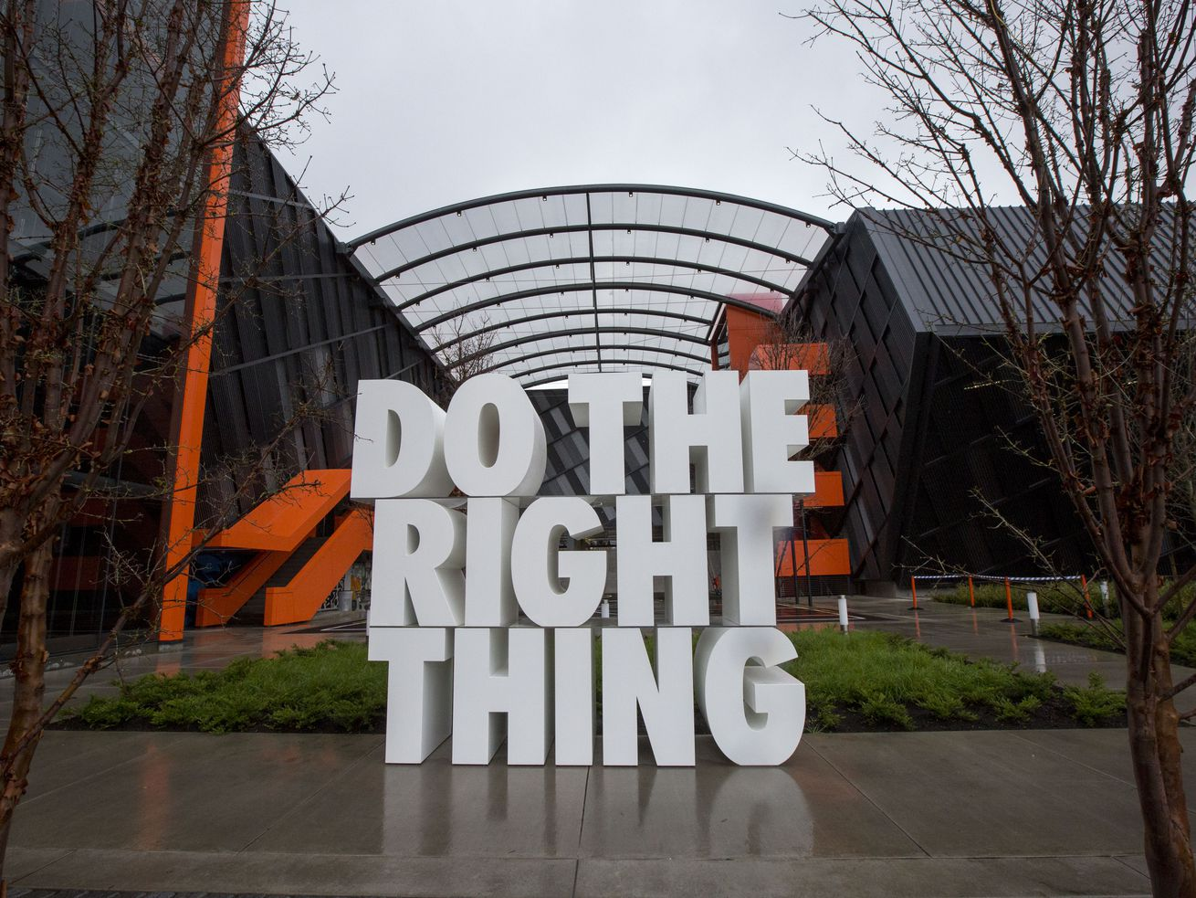 A giant sculpture at the Nike headquarters in Beaverton, Oregon.