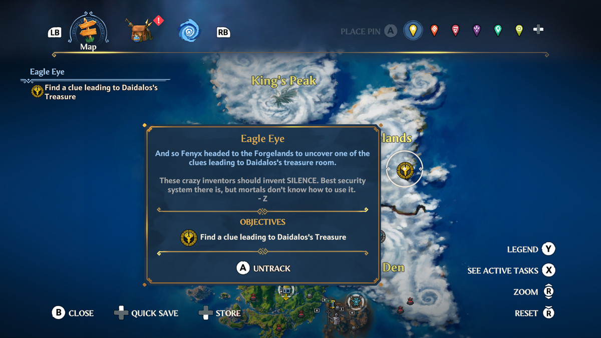 The location of the Eagle Eye quest in Immortals Fenyx Rising