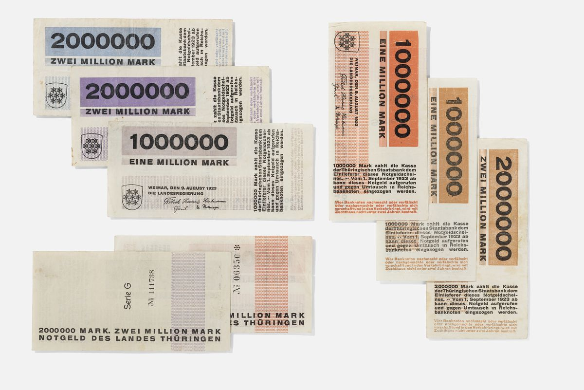 Herbert Bayer, Emergency currency of the State of Thuringia, paper<br>| © VG Bild-Kunst, Bonn 2018/ Körner, bildhübsche Fotografie, Institut für Auslandsbeziehungen