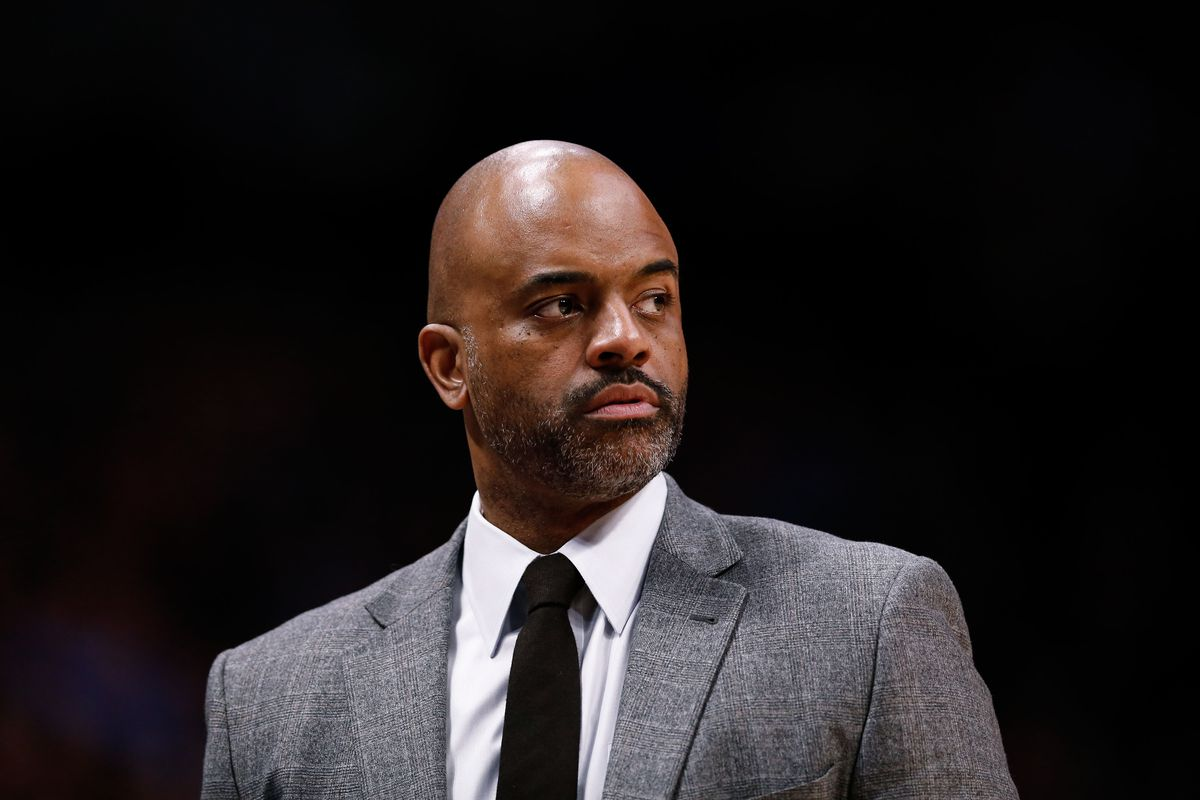 Denver Nuggets assistant coach Wes Unseld Jr. in the second quarter against the Sacramento Kings at the Pepsi Center.