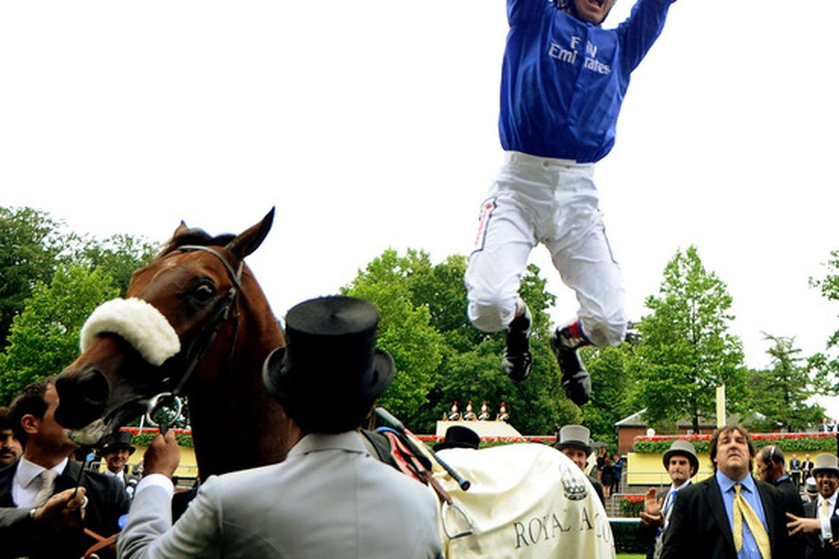 ASCOT, ENGLAND - JUNE 15:  Frankie Dettori celebrates after winning the Prince of Wales's Stakes on Rewilding during day two of Royal Ascot.  (Photo by Alan Crowhurst/Getty Images)