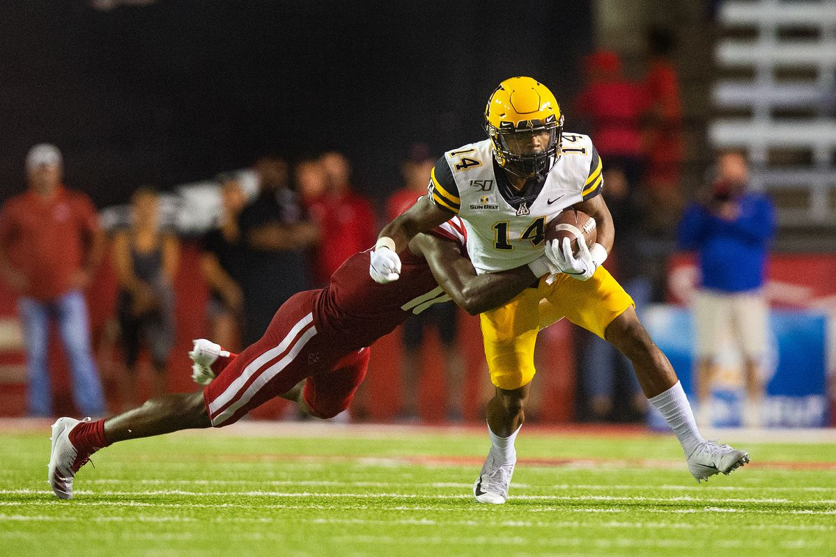 Appalachian State Mountaineers wide receiver Malik Williams (14) catches a pass during a game between the Appalachian State Mountaineers and the Louisiana-Lafayette Ragin Cajuns at Cajun Field in Lafayette Louisiana on October 9, 2019.