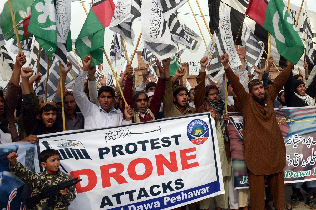 An anti-drone protest in Peshawar, Pakistan, on November 10, 2013.