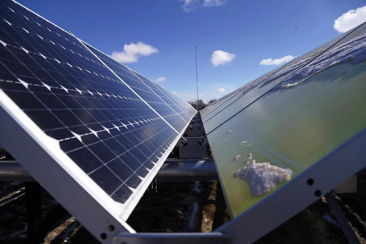 In this Feb. 26, 2015 photo, solar panels are shown in Rockford, Minn.