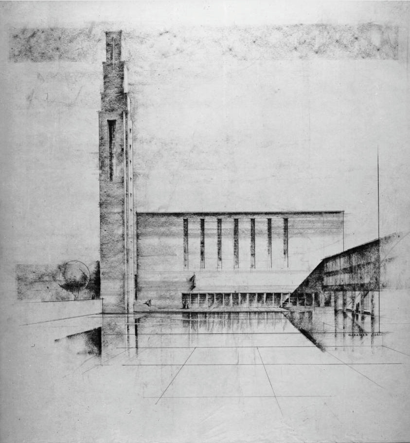 Early rendering of First Christian Church