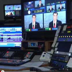 This undated frame grab taken from AP video shows a control room at television station WDBJ7 in Roanoke, Va. Political ads are blasting across the television airwaves in the Roanoke/Lynchburg Va. market, delighting broadcasters but making some viewers cringe. Blame Virginia's status as a swing state in the 2012 presidential race _ and the cheap air time in the Roanoke/Lynchburg television market. By the number of television households, with New York at the top, Roanoke is down the market size list at number 68.