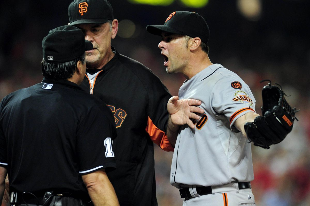 Phil Cuzzi's hat is giving Bochy a total Chaplin mustache, what does that mean?