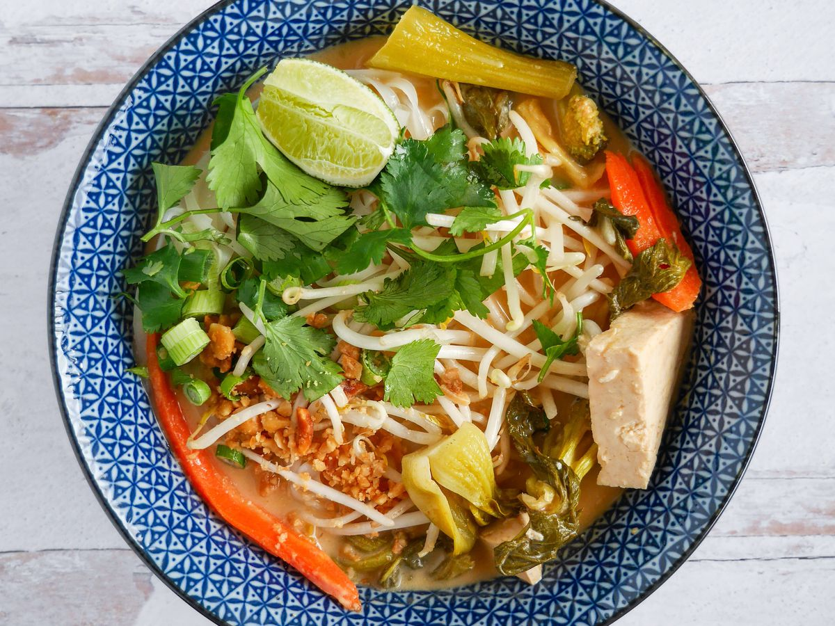A picture of the spicy coconut noodles at Basil Vegan Kitchen