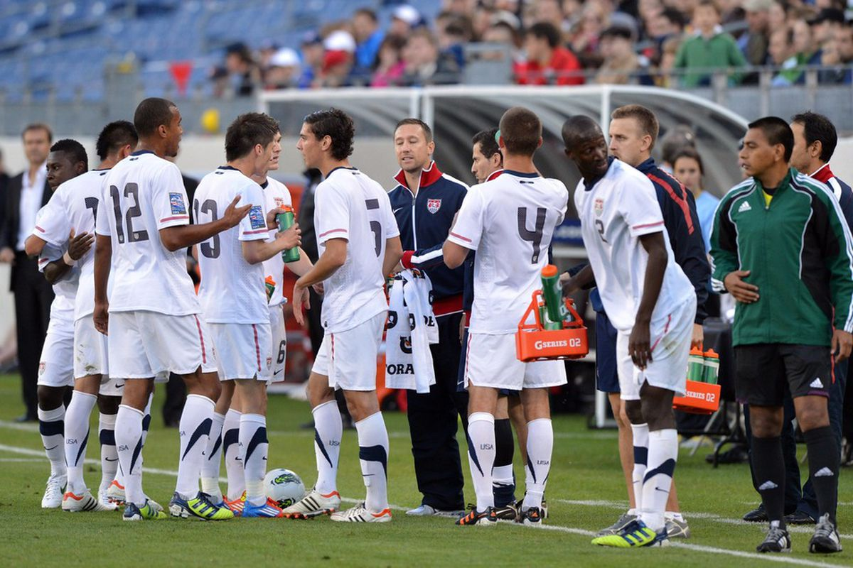 Mar 24, 2012; Nashville, TN, USA; USA team members gather during a time out against Canada during the first half of the CONCACAF Olympic Qualifying at LP Field. Canada beat the USA 2-0. Mandatory Credit: Don McPeak-US PRESSWIRE