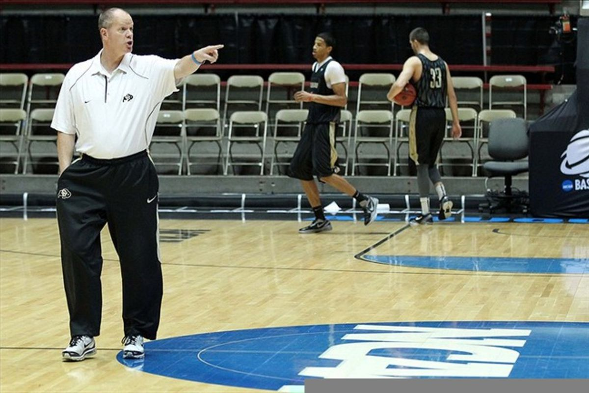 Mar 14, 2012; Albuquerque, NM, USA; Colorado Buffaloes head coach Tad Boyle during practice for the second round of the 2012 NCAA men's basketball tournament at the Pit.  Mandatory Credit: Nelson Chenault-US PRESSWIRE