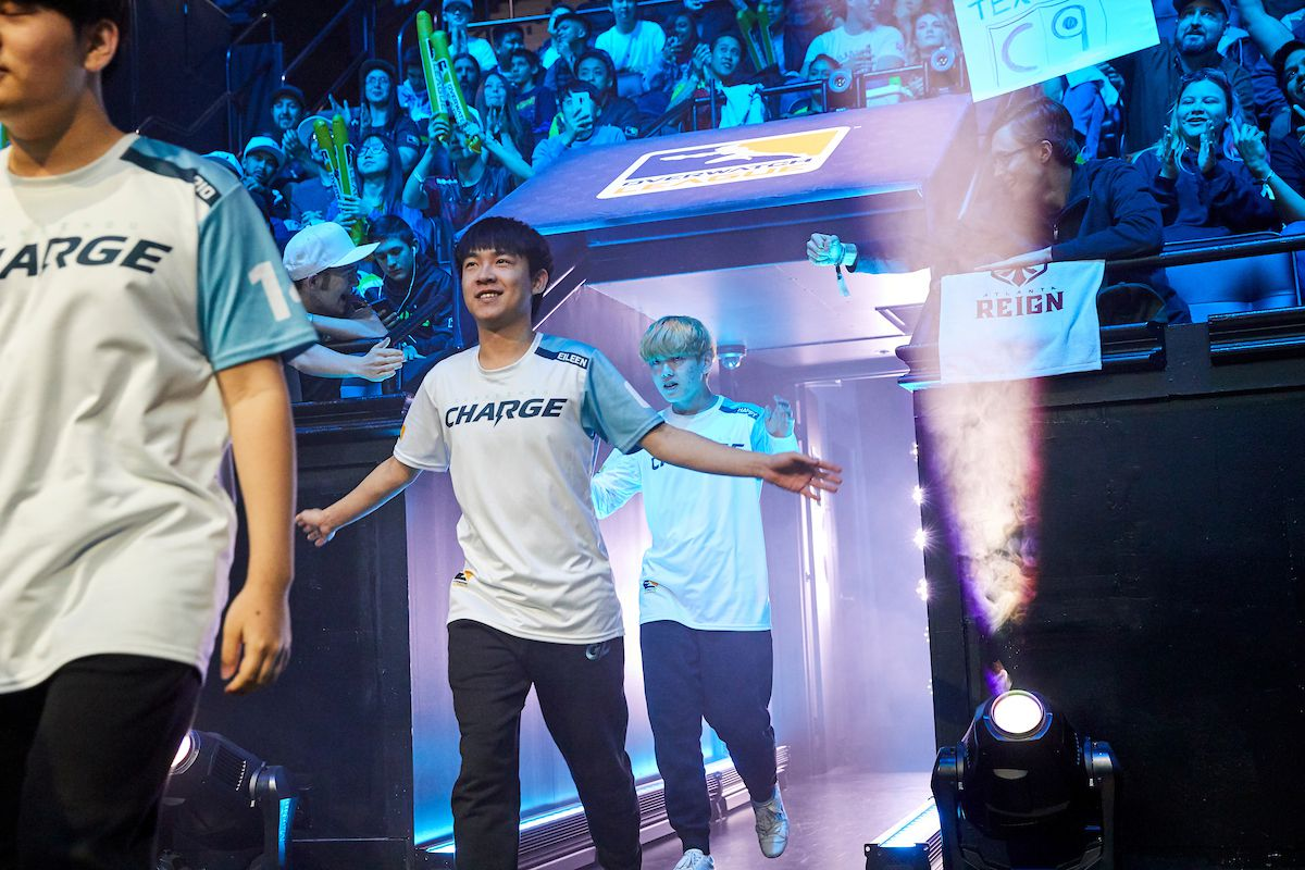The Guangzhou Charge walk out in the Blizzard Arena