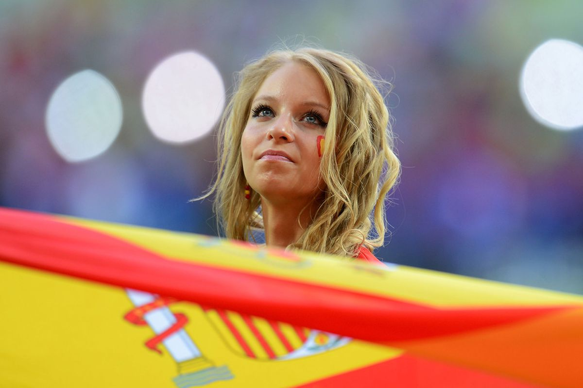 Spain fans, unlike the Dutch fans, don't have to leave the EURO yet.
