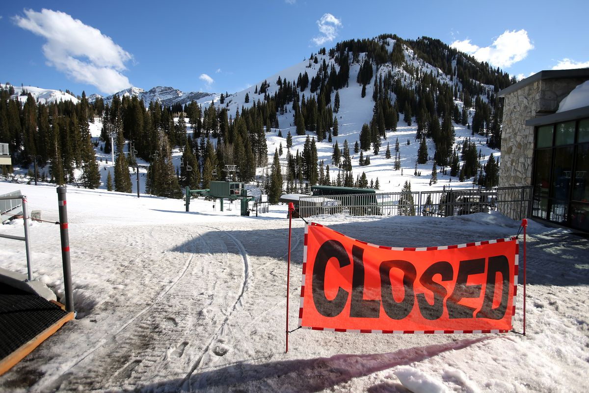 A sign tells visitors that Alta Ski Area is closed on Tuesday, March 17, 2020. Utah's ski resorts are now closed due to the spread of COVID-19.