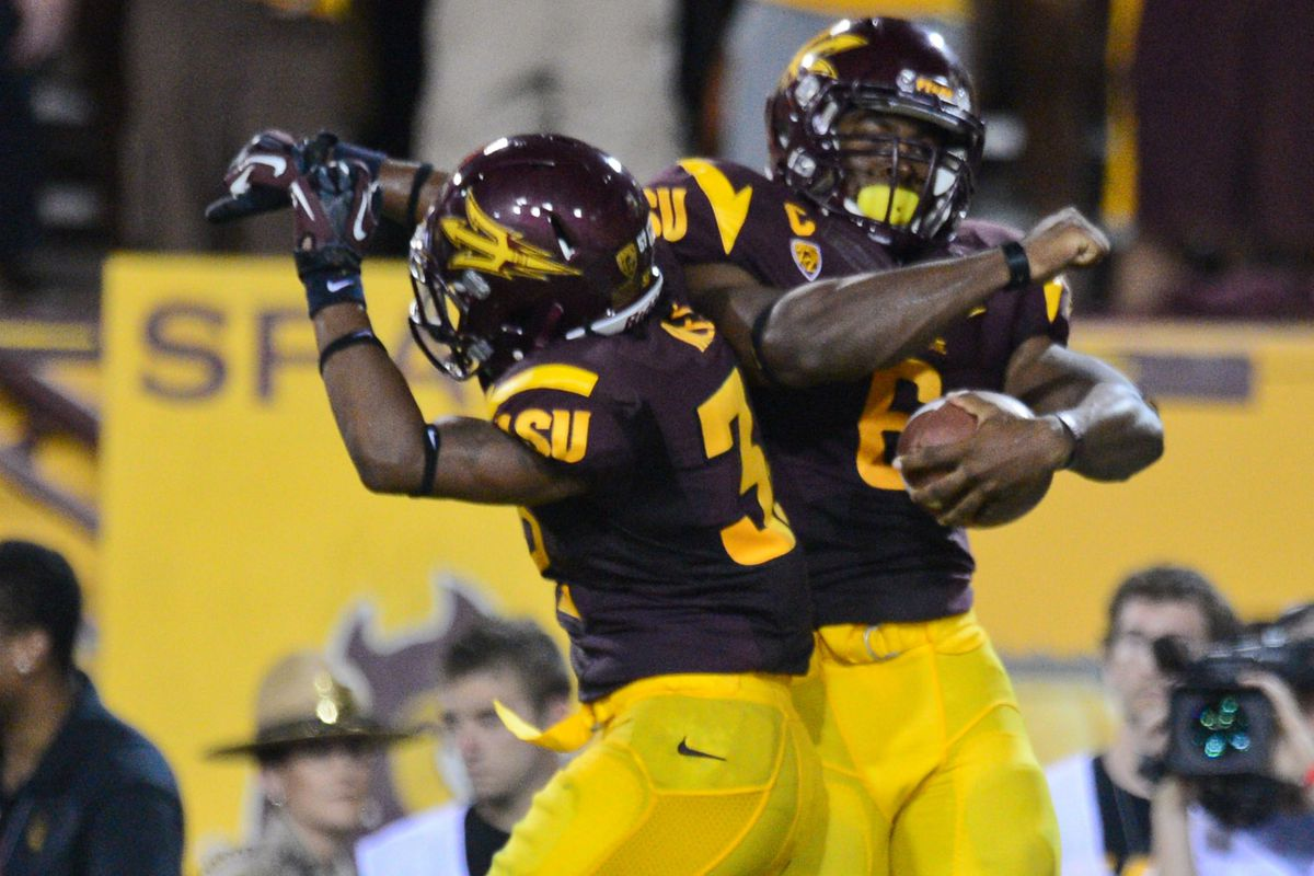 Cameron Marshall and Jamal Miles celebrate after one of many Sun Devil highlights