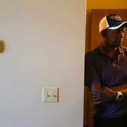 Larry Darden looks on while in his home at the Lowell Apartments in Salt Lake City on Wednesday, June 14, 2017. Darden, who has been in his current apartment for a year and a half, had issues previously with finding affordable housing and suffered from unsafe living conditions.