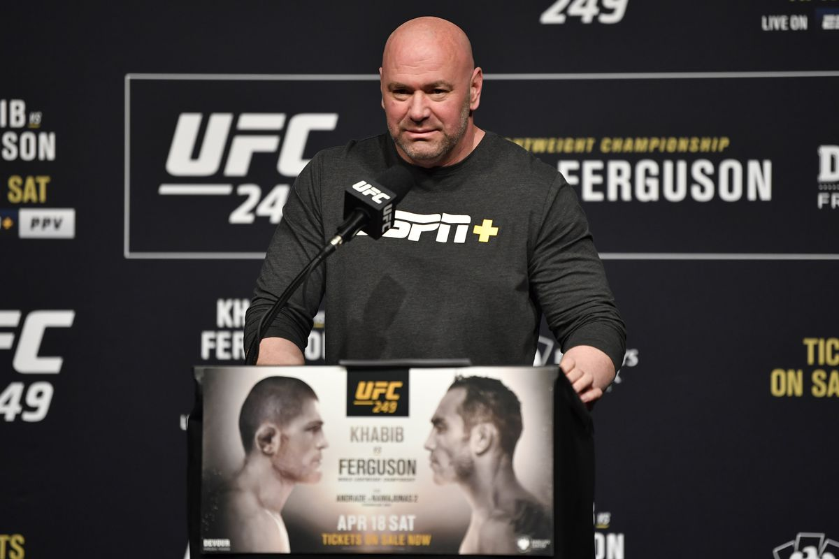 UFC president Dana White interacts with media during the UFC 249 press conference at T-Mobile Arena on March 06, 2020 in Las Vegas, Nevada.