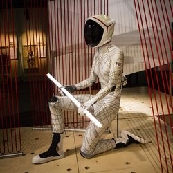 """The MIT BioSuit, an ultra-light space suit, at MSI's  """"Wired to Wear"""" exhibit. 