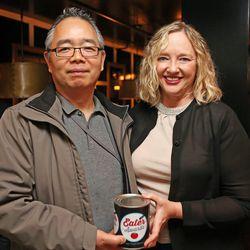 Yasu Kizaki of Sushi Den and Izakaya Den, with his wife, Elizabeth