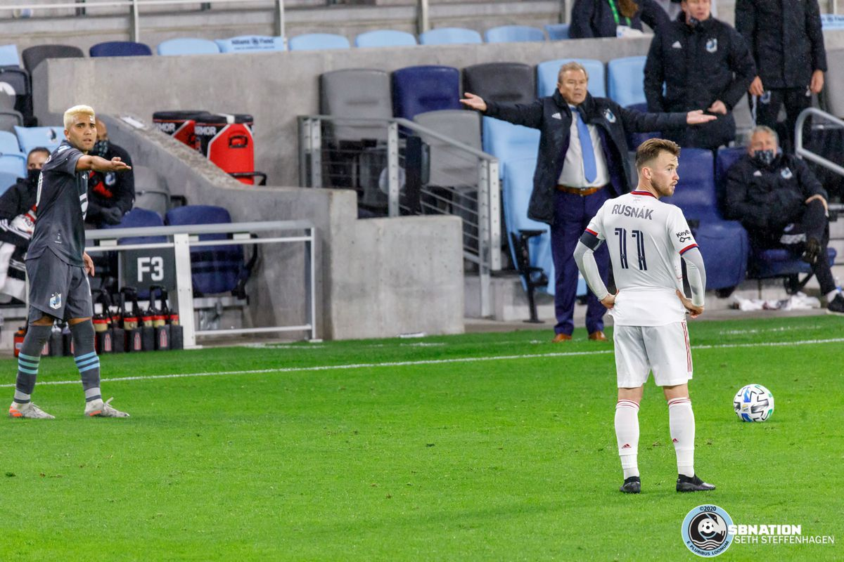 September 27, 2020 - Saint Paul, Minnesota, United States - Minnesota United head coach Adrian Heath and Minnesota United midfielder Emanuel Reynoso (10) call out Real Salt Lake midfielder Albert Rusnák (11) for not being 10 yards away from the ball for a free kick during the match at Allianz Field.