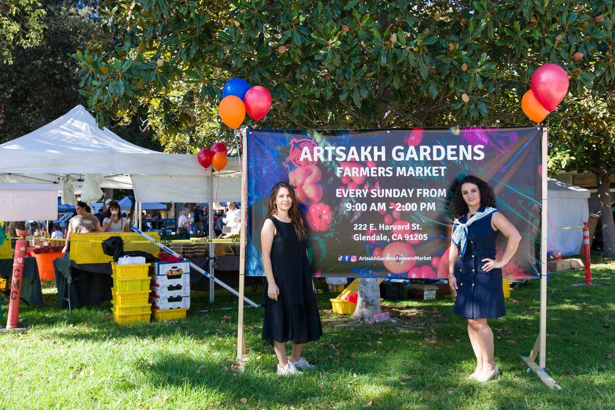 Lilit Barsegyan and Hilda Avanessian, coordinators for Artsakh Gardens Farmers Market in Glendale, on September 12, 2021.