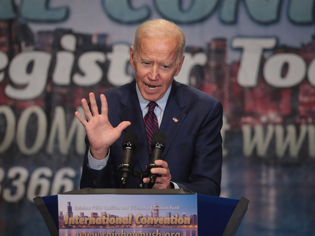 Former Vice President Joe Biden speaks at the Rainbow Push Coalition convention on June 28, 2019 in Chicago.