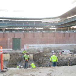 Still another view of the dig in the left-field bleachers along Waveland