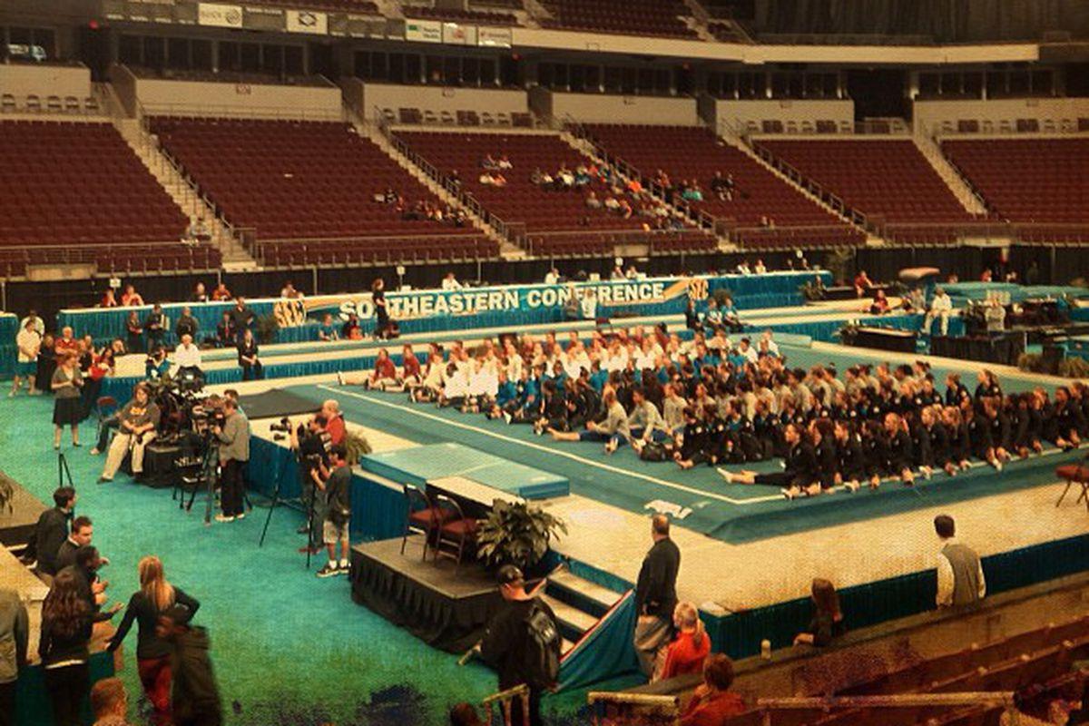The 8 SEC gymnastics teams doing... uh, something... at Verizon Arena in North Little Rock, Arkansas