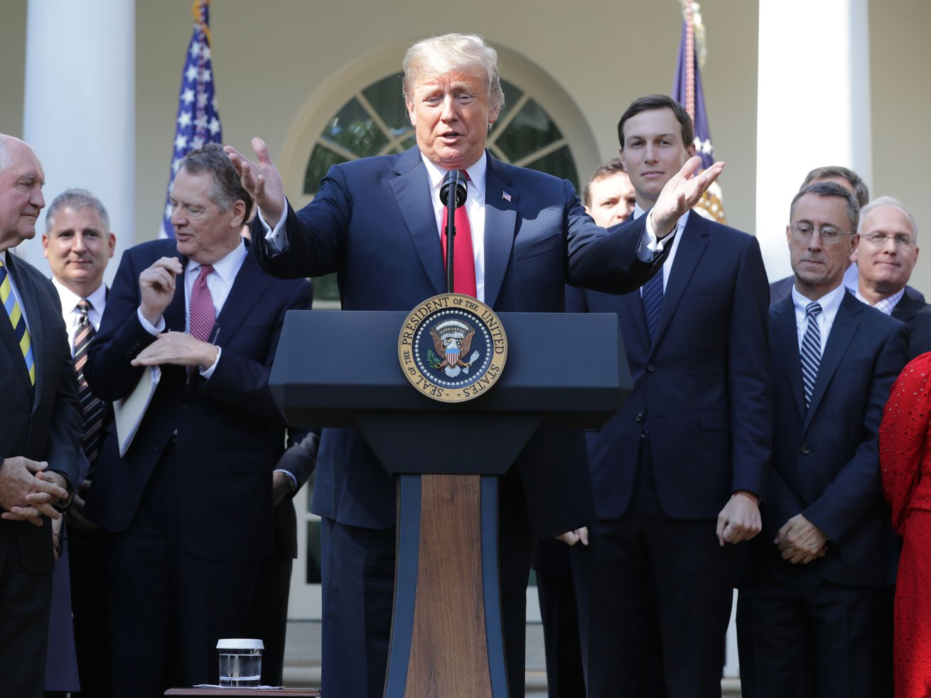 President Donald Trump talks about the USMCA in the Rose Garden on October 1, 2018.