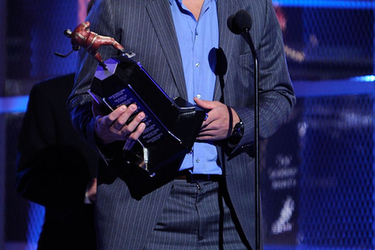 LAS VEGAS - JUNE 23:  Alex Ovechkin accepts the Ted Lindsay Award during the 2010 NHL Awards at the Palms Casino Resort on June 23, 2010 in Las Vegas, Nevada.  (Photo by Ethan Miller/Getty Images for NHLI)