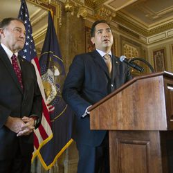 Utah Governor Gary R. Herbert and Utah Attorney General Sean Reyes talk Monday, Oct. 6, 2014, to the media in the Rampton room of the Capitol after the Supreme Court refused to hear appeals on same sex marriages, making them legal.