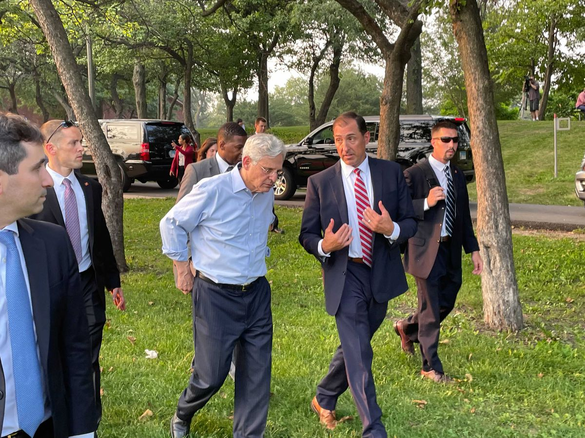 """Chicago-based U.S. Attorney John Lausch (right) will lead the """"strike force"""" effort here, and Attorney General Merrick Garland told reporters Thursday that Lausch has connected with his counterparts in potential gun source areas in downstate Illinois, Indiana and Wisconsin."""