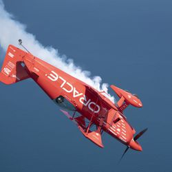 Sean Tucker flies over Chicago on media day for Chicago Air and Water Show.   Colin Boyle/Sun-Times
