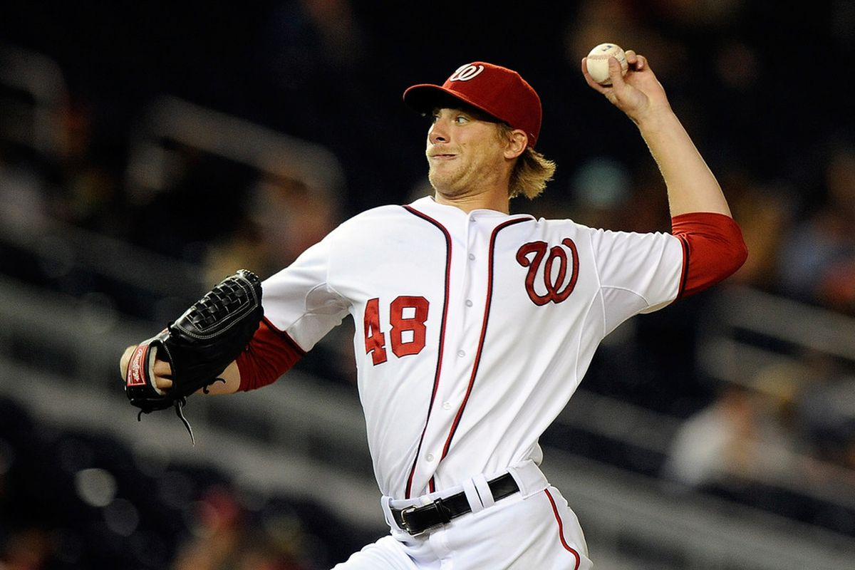 WASHINGTON, DC - MAY 03:  Ross Detwiler #48 of the Washington Nationals throws a pitch against the Arizona Diamondbacks at Nationals Park on May 3, 2012 in Washington, DC.  (Photo by Patrick McDermott/Getty Images)