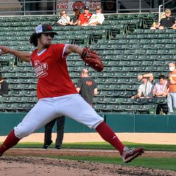 IU sophomore Braydon Tucker delivers a pitch to the plate during his scoreless inning of work at Victory Field.