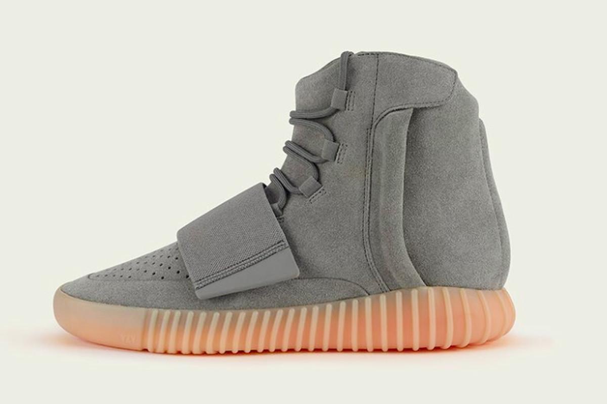 A gray Yeezy Boost 750 sneaker