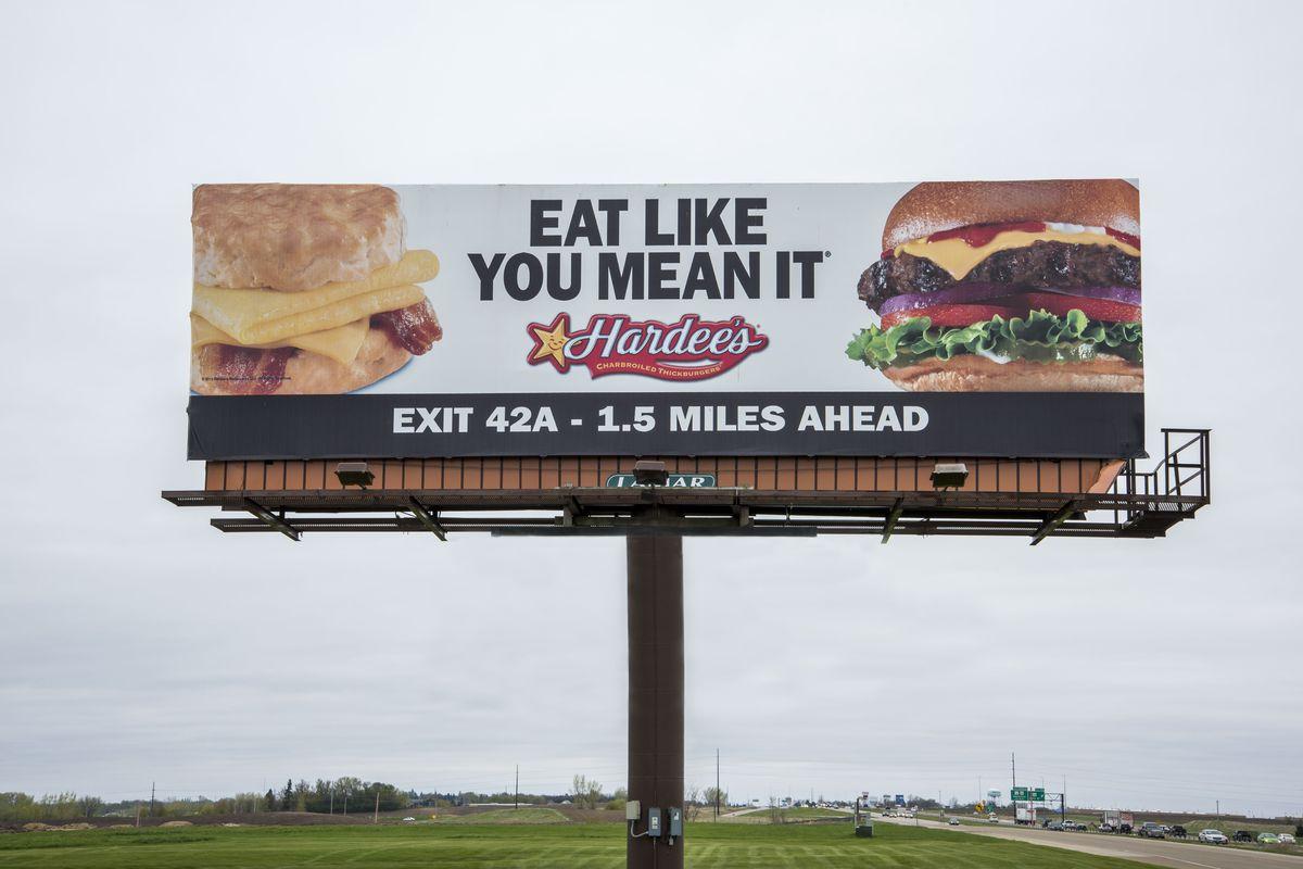 Owatonna, Minnesota, Hardee's fast food advertisement on billboard.