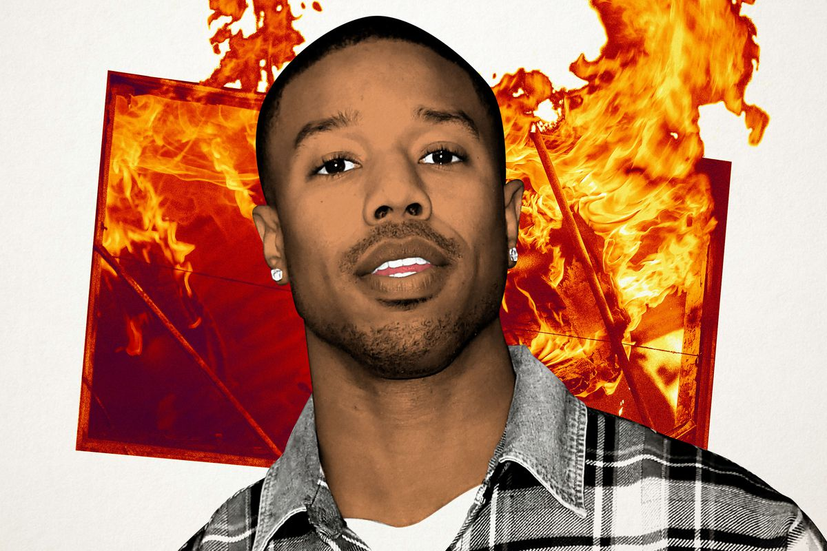 A photo illustration of Michael B. Jordan in front of fire